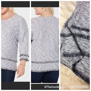 Style & Me Navy and White Fringed Top Medium NWT